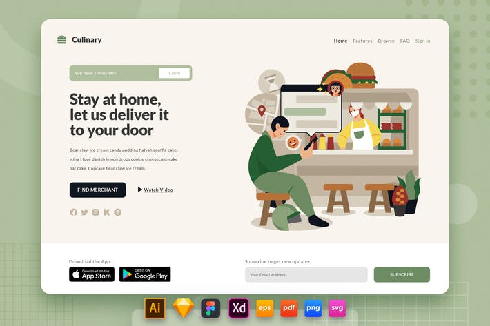 Thumbnail for Landing Page V.27 Culinary - Food Truck Delivery