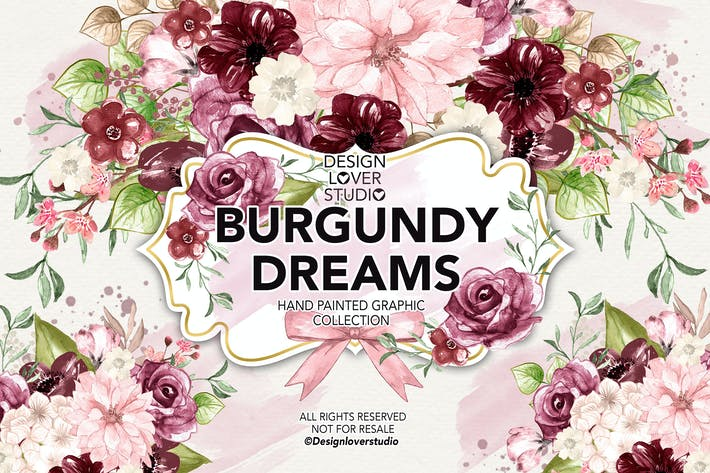 Thumbnail for Watercolor BURGUNDY DREAMS design