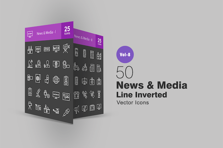 Thumbnail for 50 News & Media Line Inverted Icons