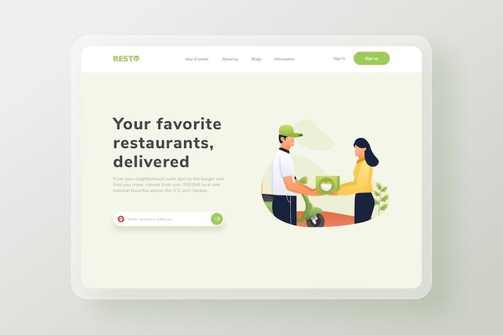 La livraison de nourriture est arrivée Page de destination Site Web