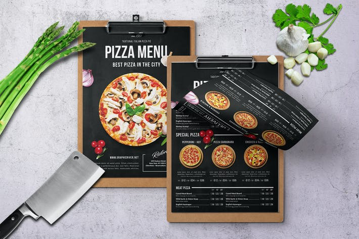 Thumbnail for Single Page Pizza Menu A4 & US Letter