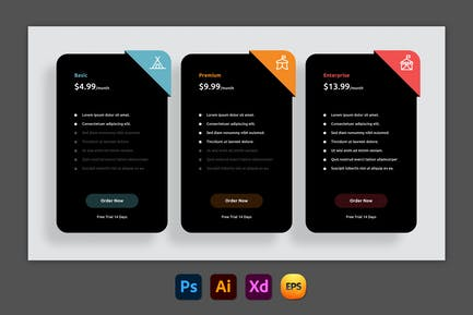 Blinded – Pricing Table Design