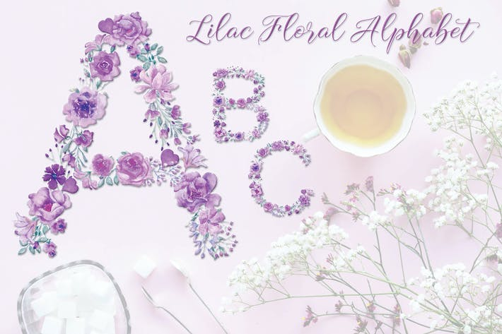 Thumbnail for Lilac Floral Alphabet