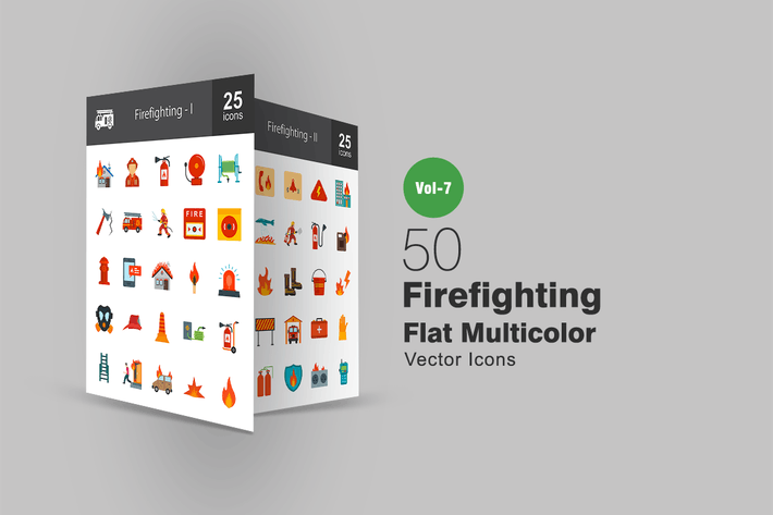 Thumbnail for 50 Firefighting Flat Multicolor Icons