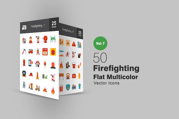 Thumbnail for 50 Íconos multicolor planos de lucha contra incendios
