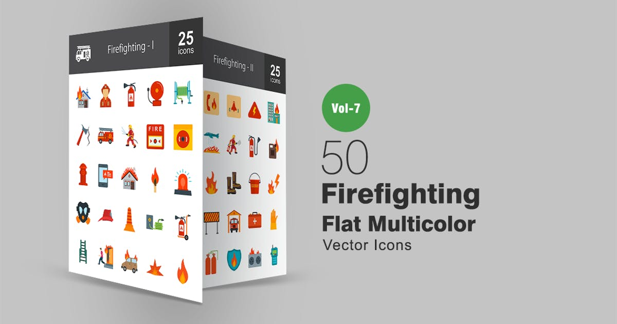 Download 50 Firefighting Flat Multicolor Icons by IconBunny