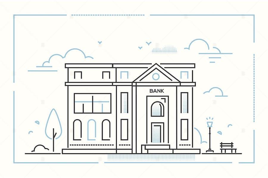 Bank - modern thin line design style illustration