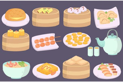 Delicious Hong Kong Cuisines Illustration Pack
