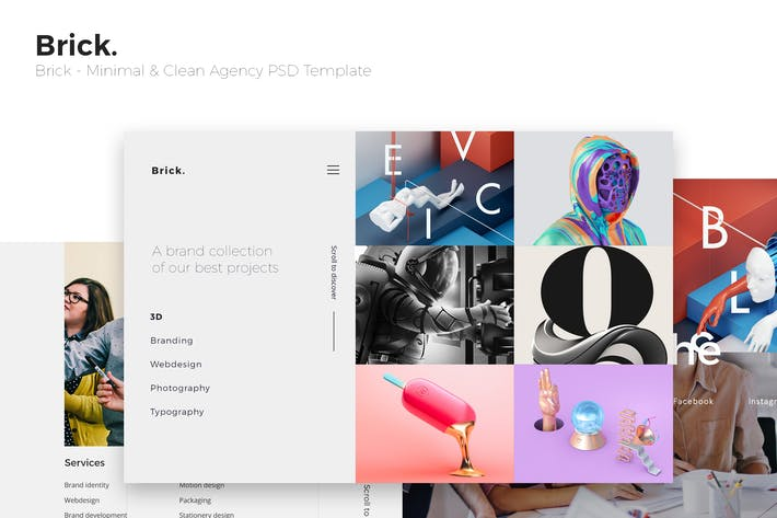 Thumbnail for Brick - Minimal & Clean Agency PSD Template