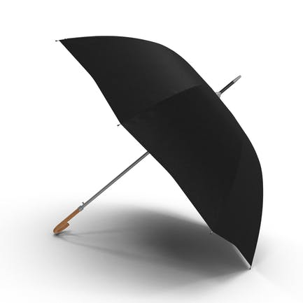 Offener schwarzer Regenschirm