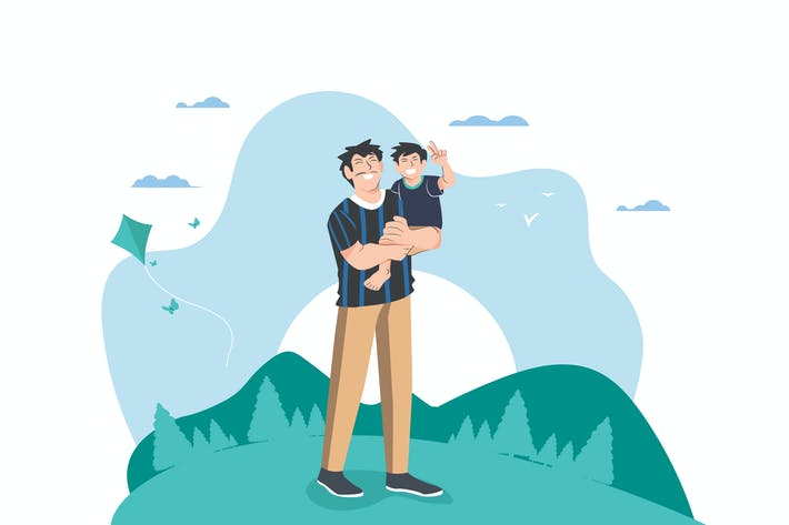 Thumbnail for Активность отца и сына - Вектор иллюстрация