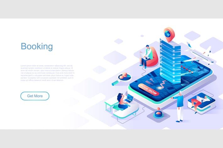 Thumbnail for Booking Isometric Flat Concept Header