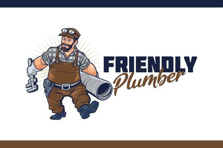 Thumbnail for Cartoon Plumber Holding Pipe Wrench and Pipe Logo