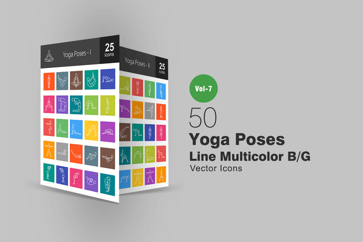Cover Image For 50 Yoga Poses Line Multicolor B/G Icons