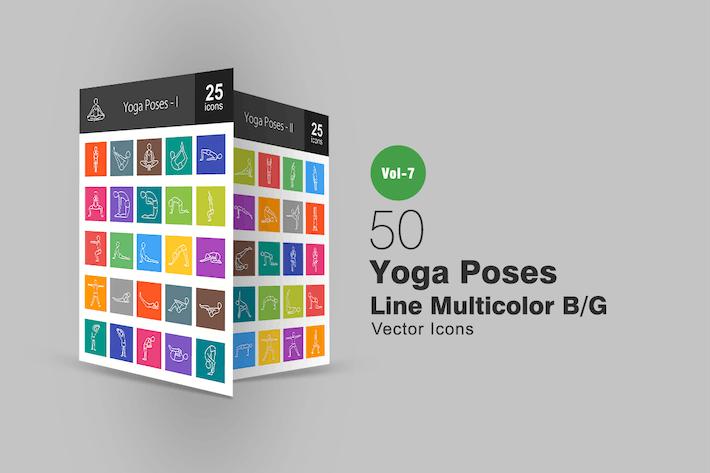 50 Yoga Poses Line Multicolor B/G Icons
