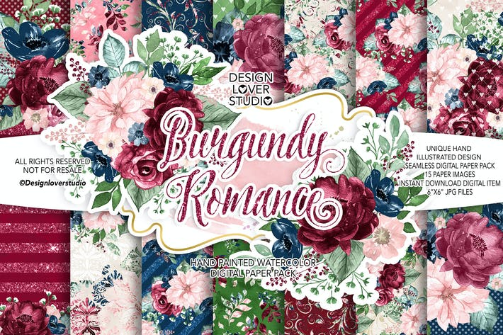 Thumbnail for Burgundy Romance digital paper pack