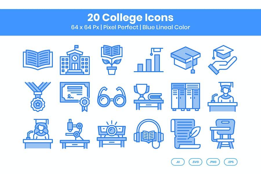 Juego de 20 Íconos universitarios, color azul lineal