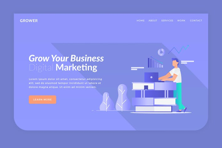 Thumbnail for Grower - Hero Banner Landing Page