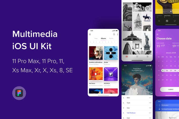 Cover Image For Multimedia iOS UI Kit (Figma)