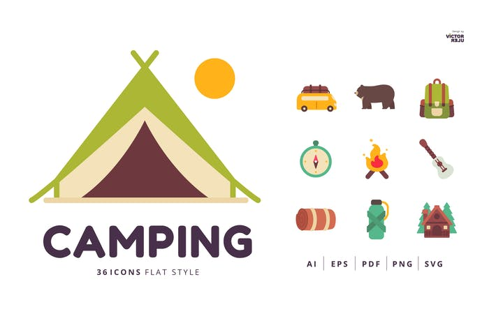 Thumbnail for 36 Icons of Camping Flat Style
