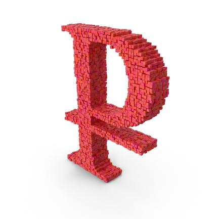 Símbolo de rublo Voxel