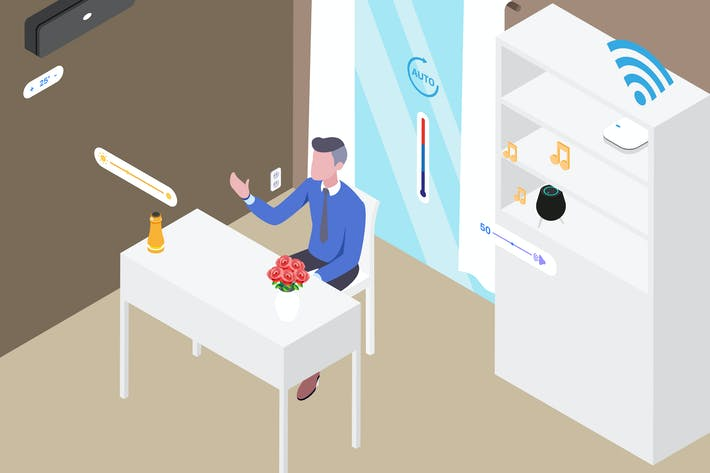 Thumbnail for Smart Room Workspace Isometric Illustration
