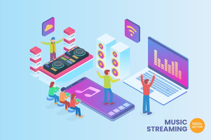 Thumbnail for Isometric Music Streaming Vector Concept
