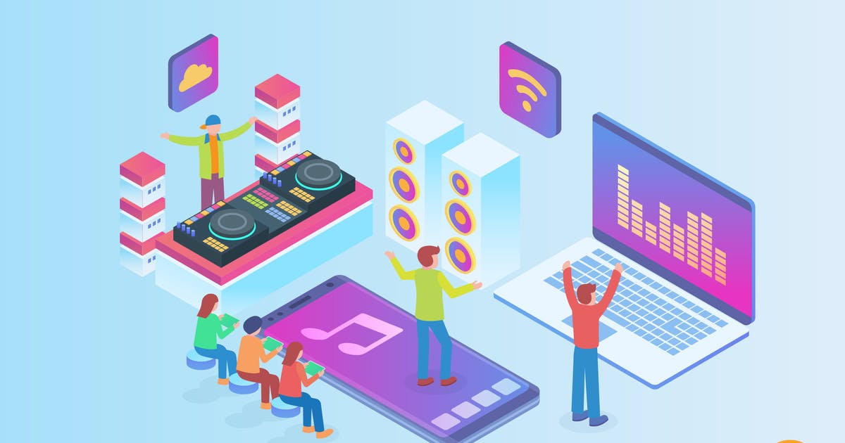 Download Isometric Music Streaming Vector Concept by naulicrea