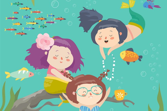 Thumbnail for Cute cartoon mermaids with beautiful underwater