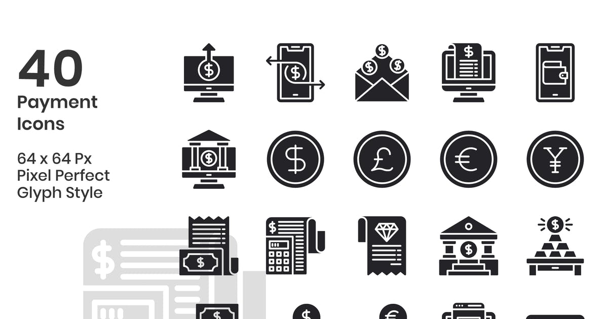 Download 40 Payment Icons Set - Glyph by kmgdesignid