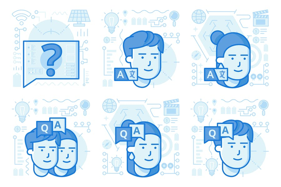 Questions and Answers UI UX Illustrations