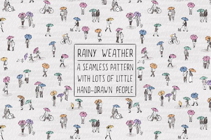 Gente pequeña caminando bajo la lluvia