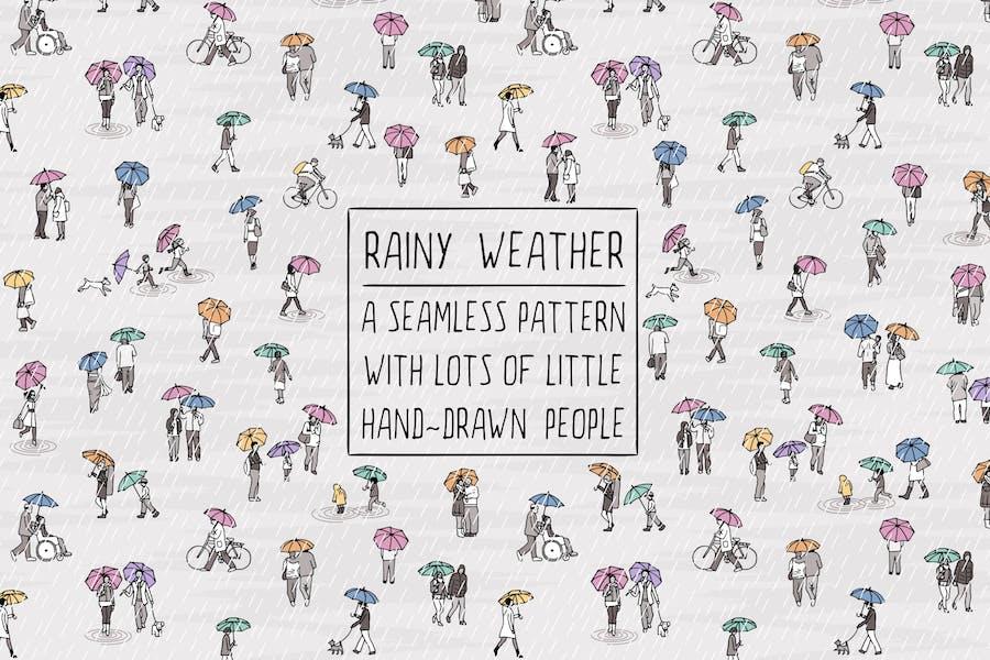 Kleine Menschen, die im Regen laufen