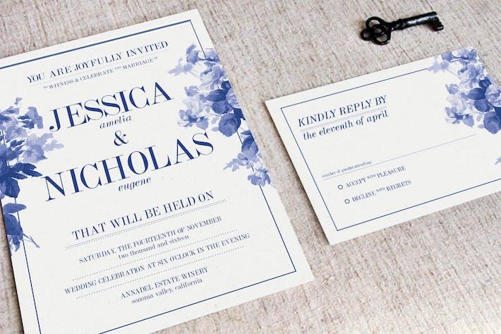 Thumbnail for China Blue Wedding Invitation