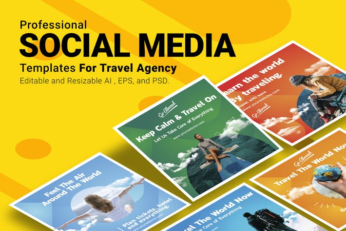 Thumbnail for Travel Agency - Social Media Post Templates
