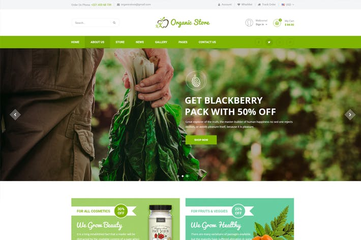 Cover Image For Organic Store - Organic Food, Agriculture PSD