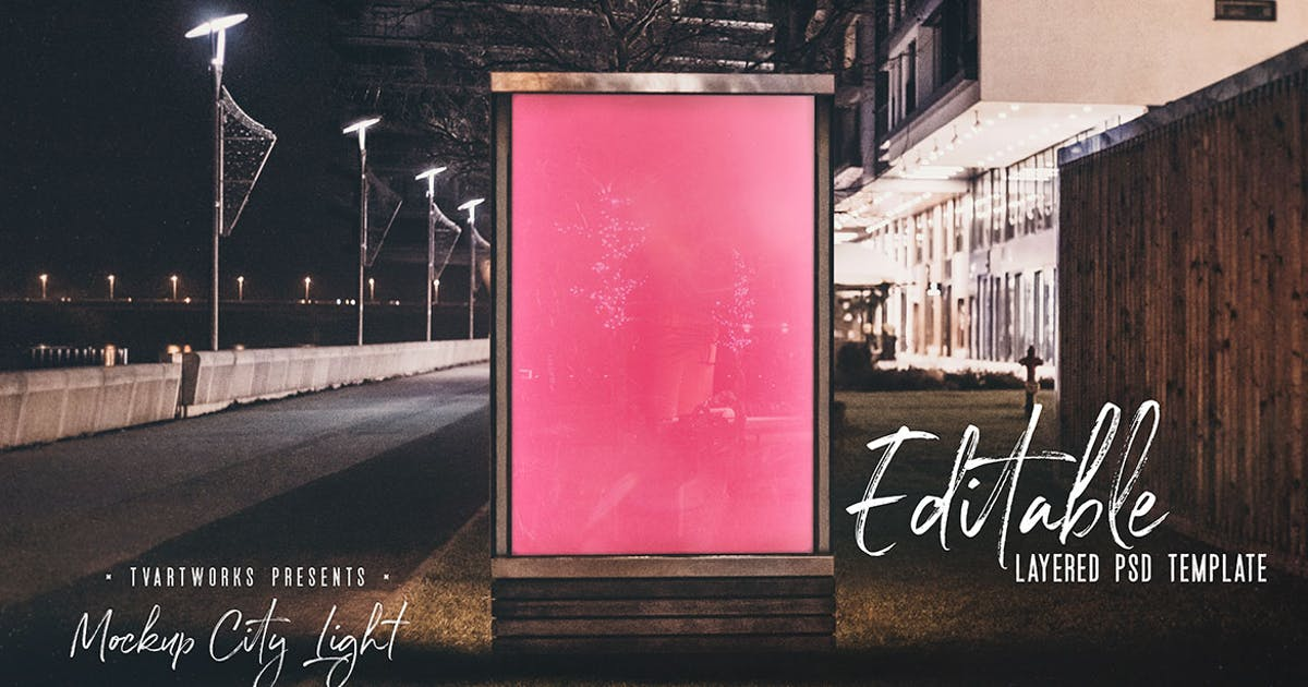 Download City Light Board Poster Mockup 05 by cruzine