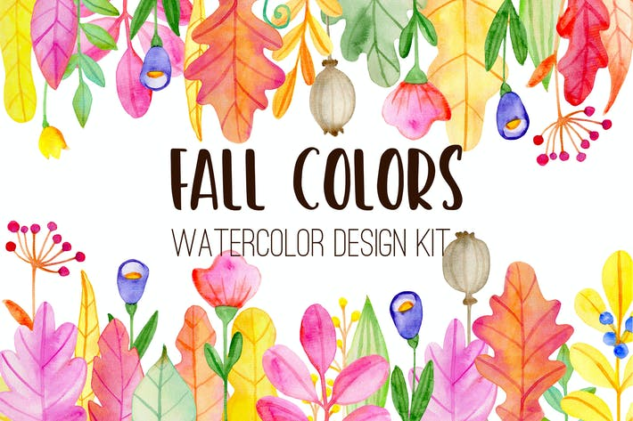 Thumbnail for Fall Colors Watercolor Design Kit