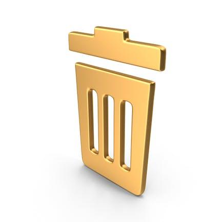 Rubbish Bin Symbol Gold