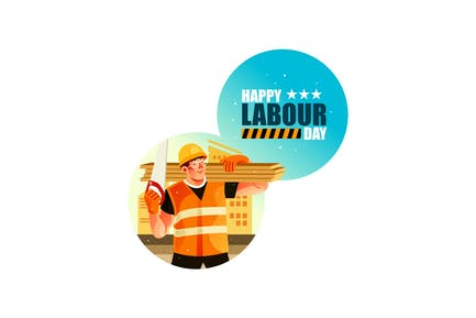 Bauarbeiter Happy Labour Day