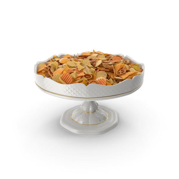 Fancy Porcelain Bowl with Mixed Salty Snacks