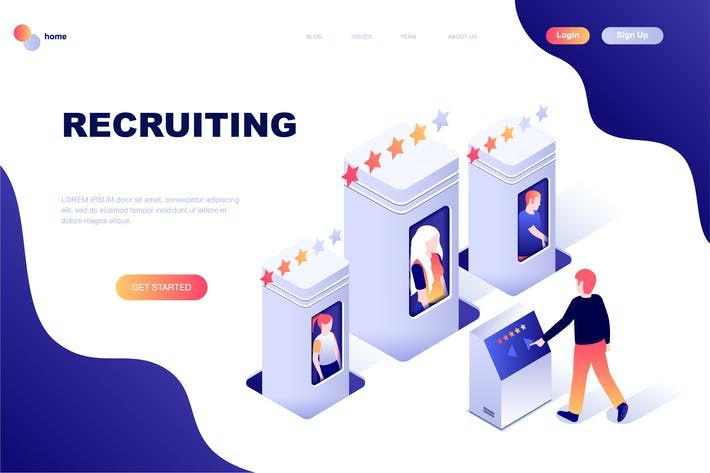 Thumbnail for Recruiting Isometric Landing Page Template