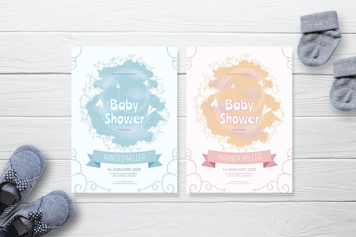 Thumbnail for Bright Cloud - Baby Shower Invitation