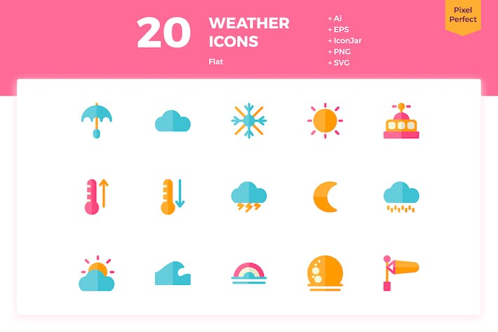 Thumbnail for 20 Weather Icons (Flat)