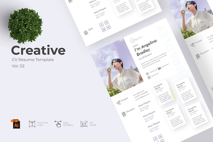 Thumbnail for Creative CV Resume Template Vol. 02
