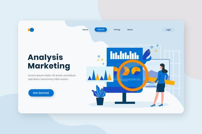 Thumbnail for Analytics Marketing Flat Concept Landing Page