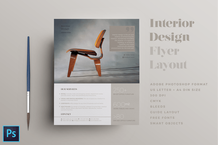 Interior Design Flyer Layout By Leonedanieli On Envato Elements