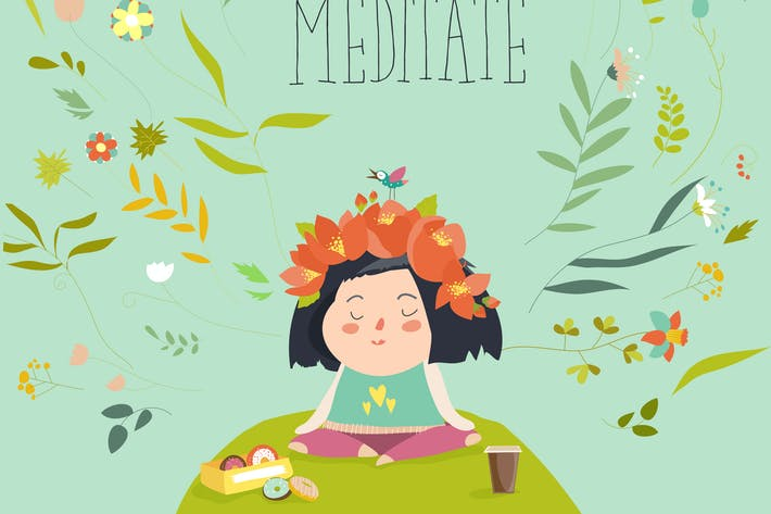 Thumbnail for Vector illustration with girl practicing yoga