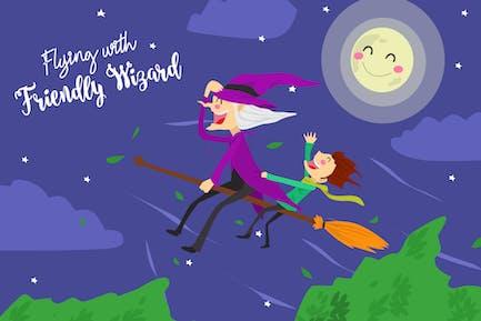 Flying Friendly - Vektor illustration