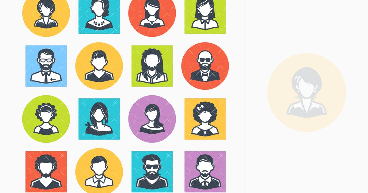 Download Avatars Icons Set 1 - Colored Series by introwiz1